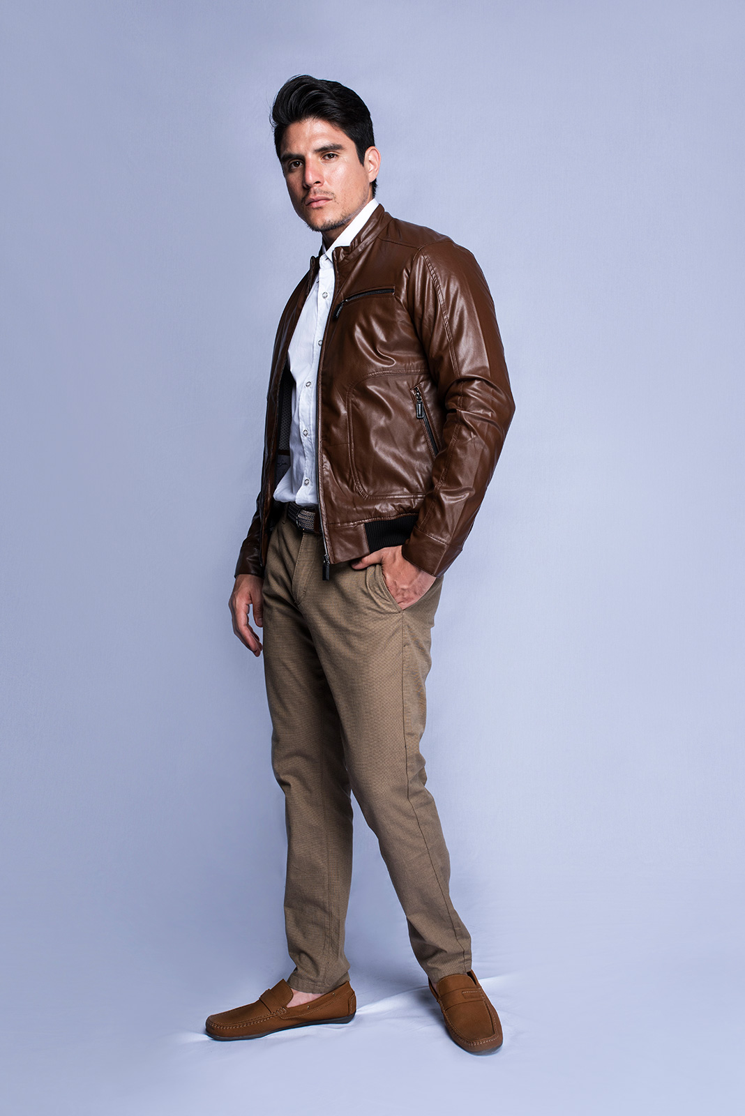 01330099f FAUX LEATHER JACKET (BROWN) – Andrew Smith